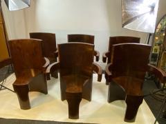 SIX MODERNIST BURLWOOD ART DECO REVIVAL DINING CHAIRS - 1469329