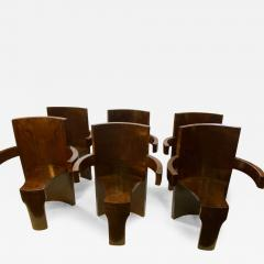 SIX MODERNIST BURLWOOD ART DECO REVIVAL DINING CHAIRS - 1470906