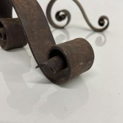 SPAIN Colonial Rustic Candle Holder Pair in Scrolled Forged Iron 1940s Vintage - 2083469