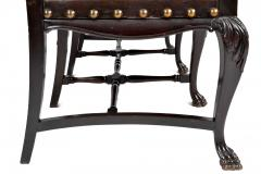 SPANISH COLONIAL PARLOR SET SETTEE ARM CHAIRS EMBOSSED LEATHER SPAIN 19TH C - 1245397