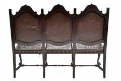 SPANISH COLONIAL PARLOR SET SETTEE ARM CHAIRS EMBOSSED LEATHER SPAIN 19TH C - 1245401