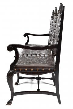 SPANISH COLONIAL PARLOR SET SETTEE ARM CHAIRS EMBOSSED LEATHER SPAIN 19TH C - 1245402