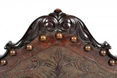 SPANISH COLONIAL PARLOR SET SETTEE ARM CHAIRS EMBOSSED LEATHER SPAIN 19TH C - 1245403