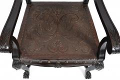 SPANISH COLONIAL PARLOR SET SETTEE ARM CHAIRS EMBOSSED LEATHER SPAIN 19TH C - 1245406