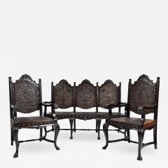 SPANISH COLONIAL PARLOR SET SETTEE ARM CHAIRS EMBOSSED LEATHER SPAIN 19TH C - 1275319