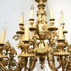 SPECTACULAR 19TH CTR FRENCH BRONZE TWENTY FOUR LIGHT CHANDELIER LOUIS XVI STYLE - 2054963