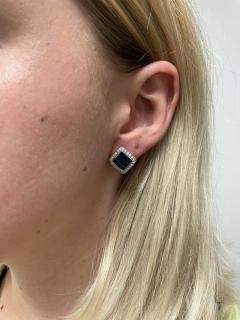 SQUARE 3 CT SAPPHIRE AND DIAMONDS 0 60 CARATS 18K WHITE GOLD EARRINGS - 2031123