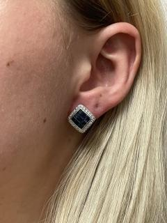 SQUARE 3 CT SAPPHIRE AND DIAMONDS 0 60 CARATS 18K WHITE GOLD EARRINGS - 2031124