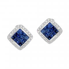 SQUARE 3 CT SAPPHIRE AND DIAMONDS 0 60 CARATS 18K WHITE GOLD EARRINGS - 2031654