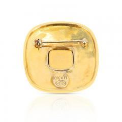 SQUARE OPAL STAR BROOCH PIN 18 KARAT YELLOW GOLD - 2077444
