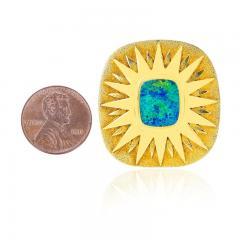 SQUARE OPAL STAR BROOCH PIN 18 KARAT YELLOW GOLD - 2077446