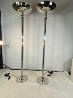 STUNNING PAIR OF ART DECO CHROME AND GLASS ROD TORCHIERES - 1892428