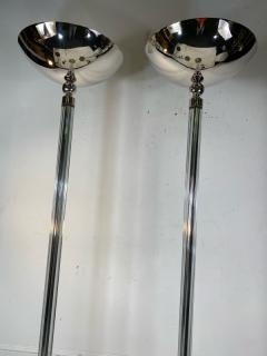 STUNNING PAIR OF ART DECO CHROME AND GLASS ROD TORCHIERES - 1892441