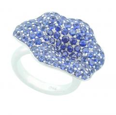 STYLISH FLORAL BLUE SAPPHIRE RING PART OF JEWELRY SET - 1933872