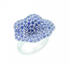 STYLISH FLORAL BLUE SAPPHIRE RING PART OF JEWELRY SET - 1935039