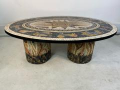 SUPERB MID CENTURY COLORFUL MOSAIC ZODIAC COFFEE TABLE - 1951546