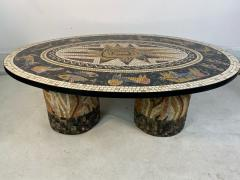 SUPERB MID CENTURY COLORFUL MOSAIC ZODIAC COFFEE TABLE - 1951551