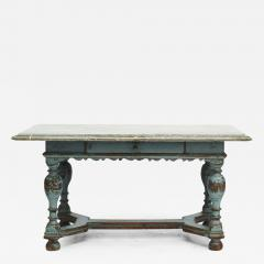SWEDISH BAROQUE TABLE WITH FOSSIL LIMESTONE TOP - 2059974