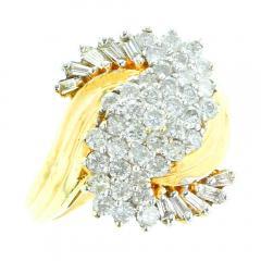 SWIRL SHAPE DIAMOND RING 14K YELLOW GOLD - 1939305