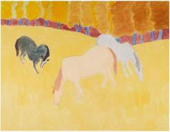 Sally Michel Avery Signed Oil on Canvas Grazing Horses  - 1500475