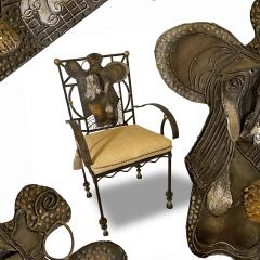 Salvador Dal American Modern Surrealist Steel Parcel gilt Armchair manner of Salvador Dali - 1920533
