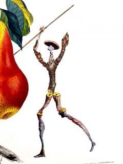 Salvador Dal Salvador Dali Don Quixote Pear Original Hand Signed Lithograph - 1049564
