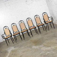 Salvatore Leone Set of 6 17 gebruder thonet style black natural tall bentwood chairs - 1588679