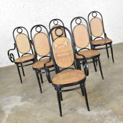 Salvatore Leone Set of 6 17 gebruder thonet style black natural tall bentwood chairs - 1588690