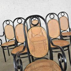 Salvatore Leone Set of 6 17 gebruder thonet style black natural tall bentwood chairs - 1588696