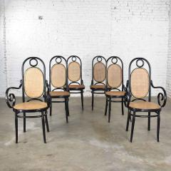 Salvatore Leone Set of 6 17 gebruder thonet style black natural tall bentwood chairs - 1588714
