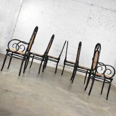 Salvatore Leone Set of 6 17 gebruder thonet style black natural tall bentwood chairs - 1588720