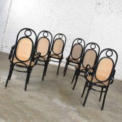 Salvatore Leone Set of 6 17 gebruder thonet style black natural tall bentwood chairs - 1588721