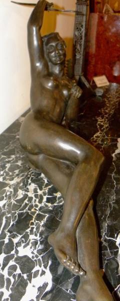 Salvatore Melani Bronze Art Deco Nude Sculpture by S Melani - 1331235