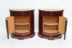 Samuel Marx Fine Pair of Faux Tortoise and Ebonized Demilune Cabinets Samuel Marx - 389268