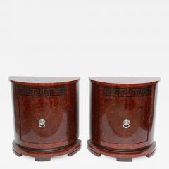 Samuel Marx Fine Pair of Faux Tortoise and Ebonized Demilune Cabinets Samuel Marx - 561142