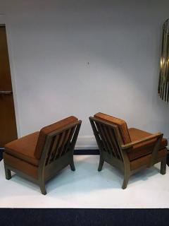 Samuel Marx Phenomenal Modernist Pair of His Hers Cerused Oak Armchairs - 452738