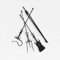 Samuel Yellin Important Set of Four Bronze and Wrought Iron Firetools - 657086