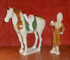 Sancai Glazed Pottery Horse with Western Attendant - 304150