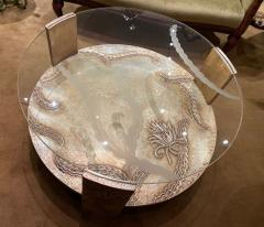 Sandblasted Glass Top Art Deco Coffee Table Silvered Wood Base - 1334143