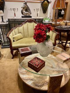 Sandblasted Glass Top Art Deco Coffee Table Silvered Wood Base - 1334144