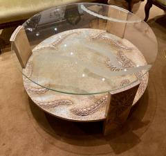 Sandblasted Glass Top Art Deco Coffee Table Silvered Wood Base - 1334145
