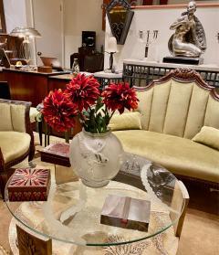 Sandblasted Glass Top Art Deco Coffee Table Silvered Wood Base - 1334146