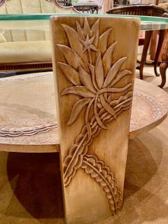 Sandblasted Glass Top Art Deco Coffee Table Silvered Wood Base - 1334147