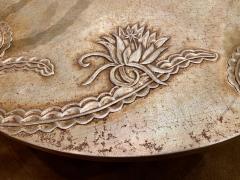 Sandblasted Glass Top Art Deco Coffee Table Silvered Wood Base - 1334150