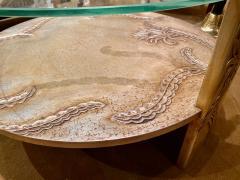 Sandblasted Glass Top Art Deco Coffee Table Silvered Wood Base - 1334151