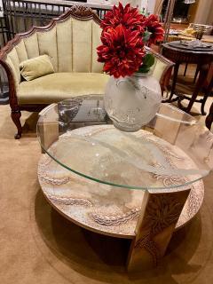 Sandblasted Glass Top Art Deco Coffee Table Silvered Wood Base - 1334152