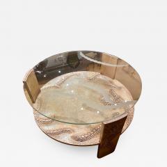 Sandblasted Glass Top Art Deco Coffee Table Silvered Wood Base - 1334921