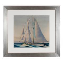 Sandor Bernathy Watercolor of a racing yacht under full sail - 1729164