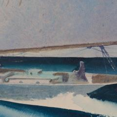 Sandor Bernathy Watercolor of a racing yacht under full sail - 1729165