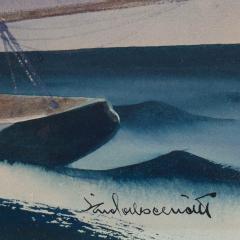 Sandor Bernathy Watercolor of a racing yacht under full sail - 1729166
